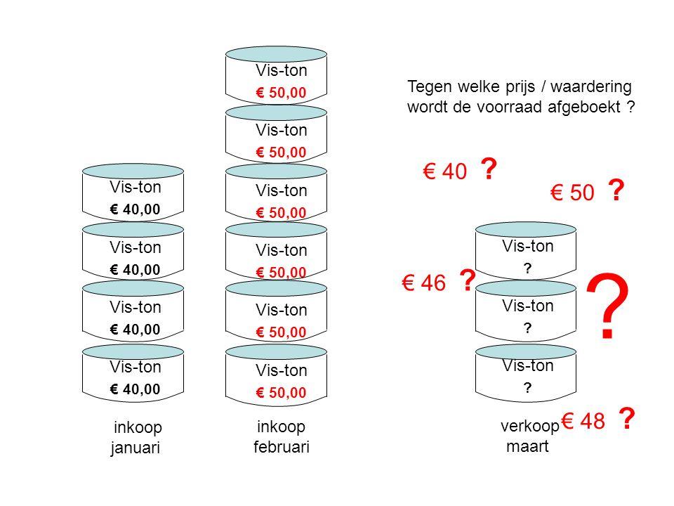 Vis-ton € 50,00. inkoop februari. Tegen welke prijs / waardering wordt de voorraad afgeboekt € 40