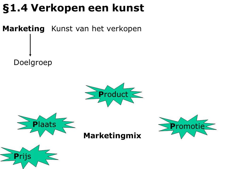 §1.4 Verkopen een kunst Marketing Kunst van het verkopen Doelgroep P