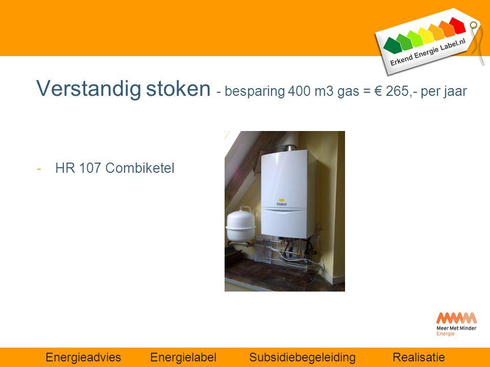 Verstandig stoken - besparing 400 m3 gas = € 265,- per jaar