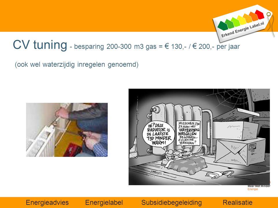 CV tuning - besparing 200-300 m3 gas = € 130,- / € 200,- per jaar (ook wel waterzijdig inregelen genoemd)