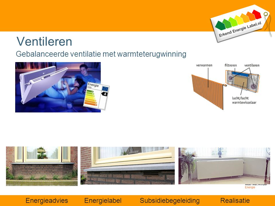 Ventileren Gebalanceerde ventilatie met warmteterugwinning