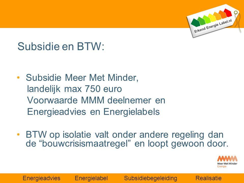 Subsidie en BTW: Subsidie Meer Met Minder, landelijk max 750 euro