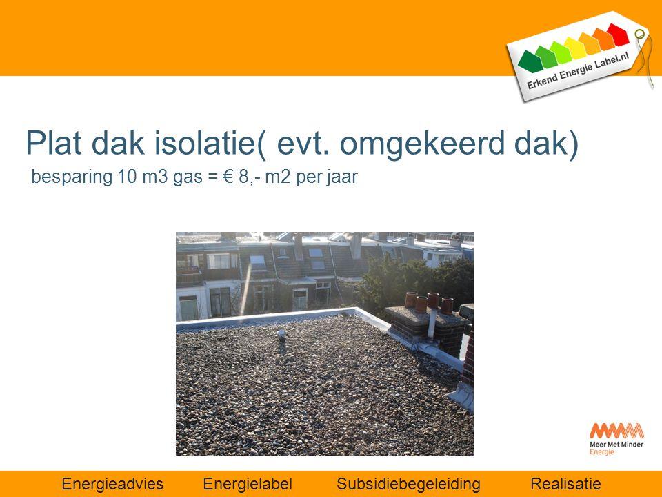 Plat dak isolatie( evt. omgekeerd dak) besparing 10 m3 gas = € 8,- m2 per jaar