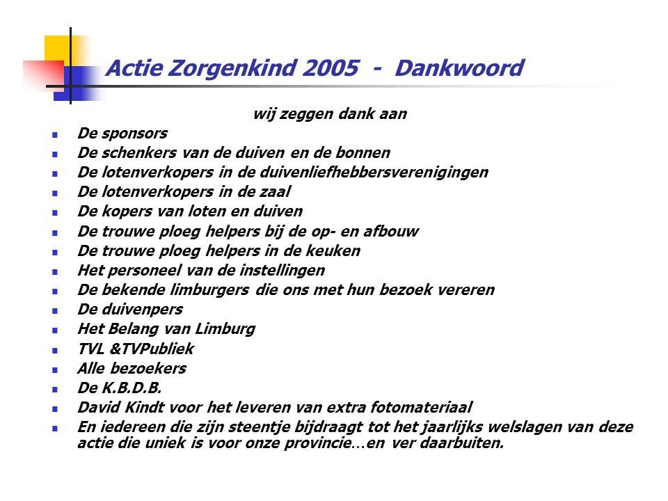 Actie Zorgenkind 2005 - Dankwoord