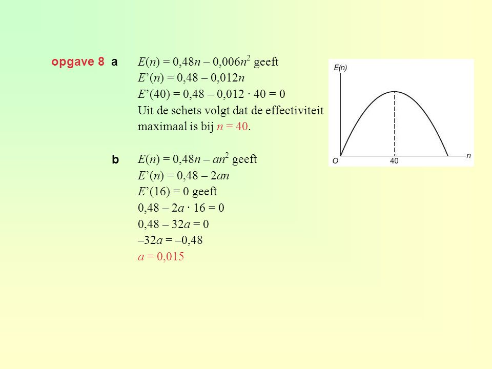 opgave 8 a E(n) = 0,48n – 0,006n2 geeft. E'(n) = 0,48 – 0,012n. E'(40) = 0,48 – 0,012 · 40 = 0. Uit de schets volgt dat de effectiviteit.