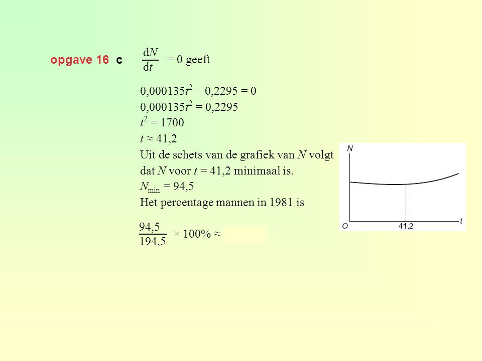 dN dt opgave 16 c. = 0 geeft. 0,000135t2 – 0,2295 = 0. 0,000135t2 = 0,2295. t2 = 1700. t ≈ 41,2.