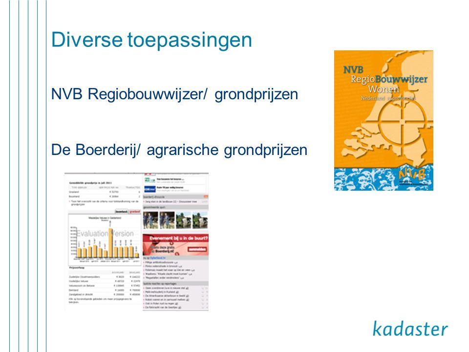 Diverse toepassingen NVB Regiobouwwijzer/ grondprijzen