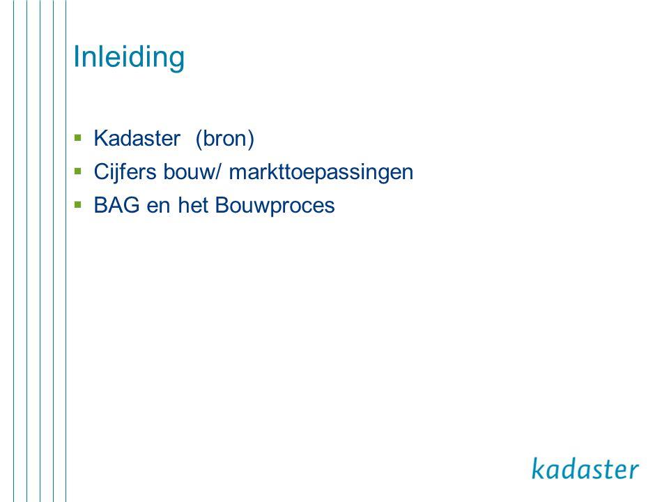 Inleiding Kadaster (bron) Cijfers bouw/ markttoepassingen