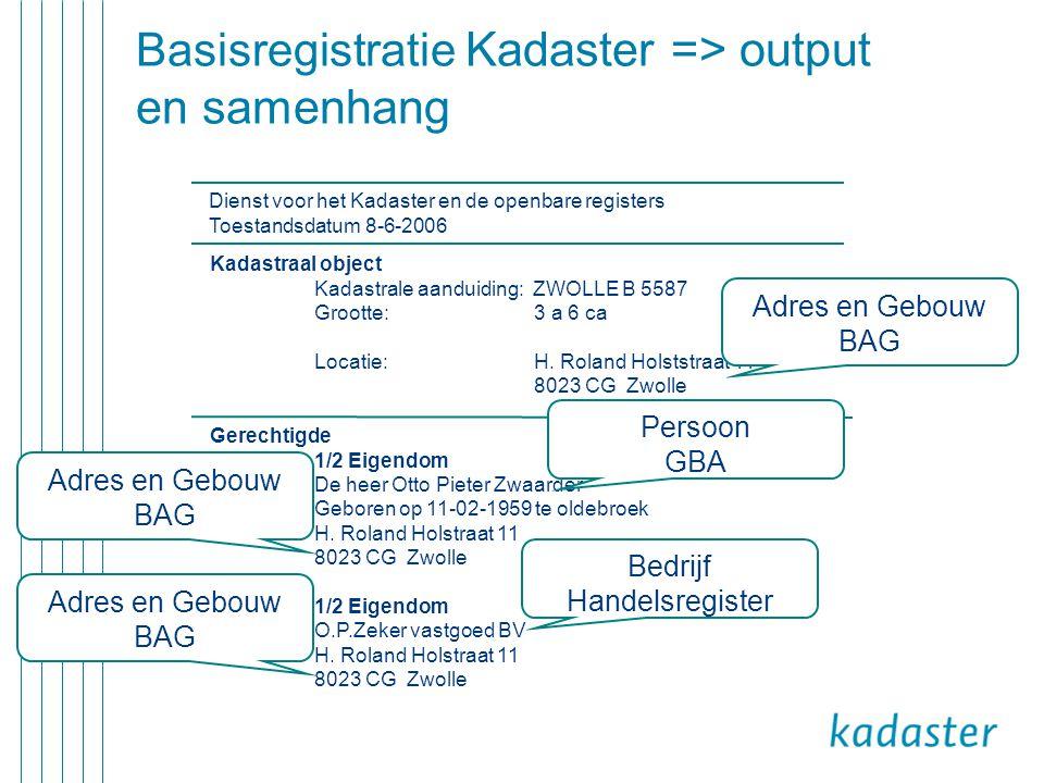 Basisregistratie Kadaster => output en samenhang