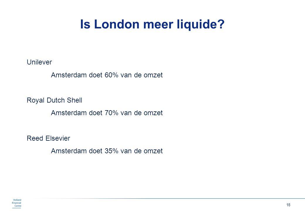 Is London meer liquide Unilever Amsterdam doet 60% van de omzet