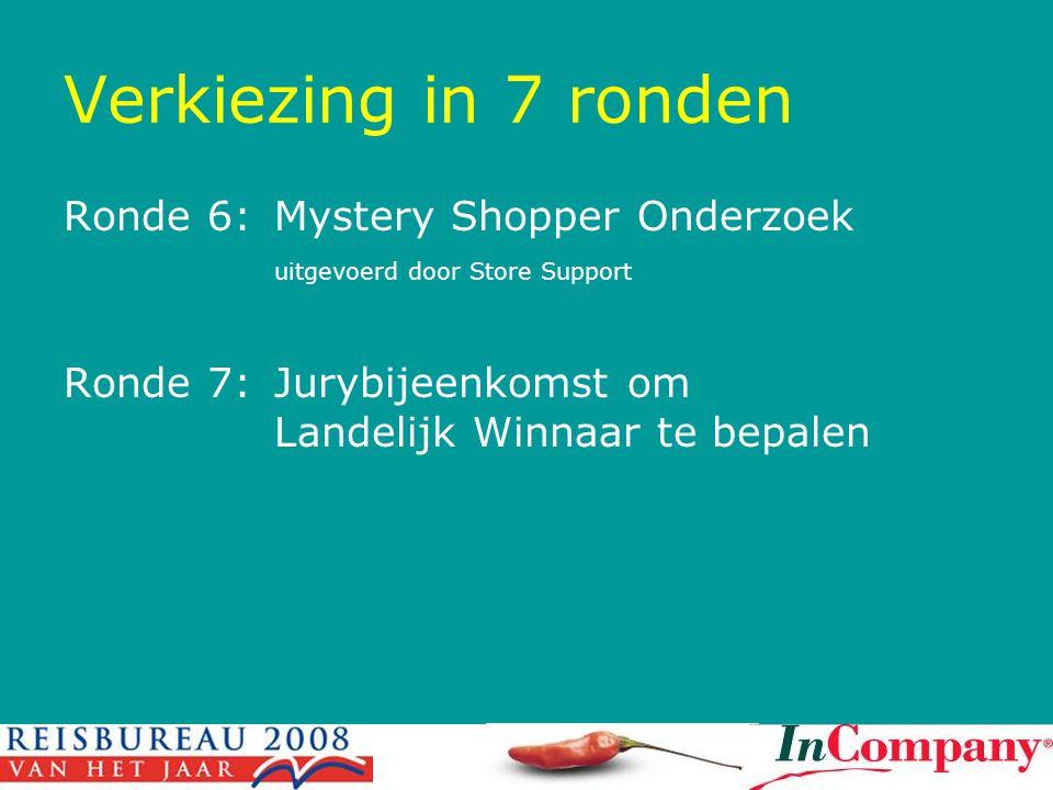 Verkiezing in 7 ronden Ronde 6: Mystery Shopper Onderzoek uitgevoerd door Store Support.