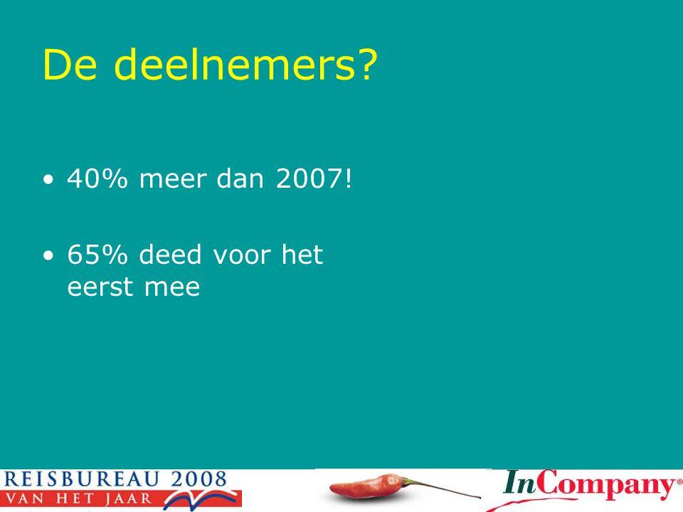 De deelnemers 40% meer dan 2007! 65% deed voor het eerst mee