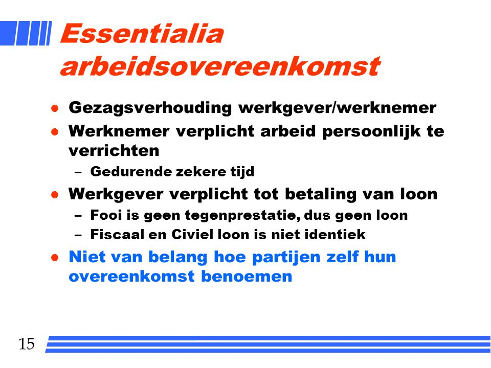Essentialia arbeidsovereenkomst