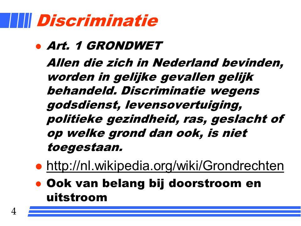 Discriminatie http://nl.wikipedia.org/wiki/Grondrechten