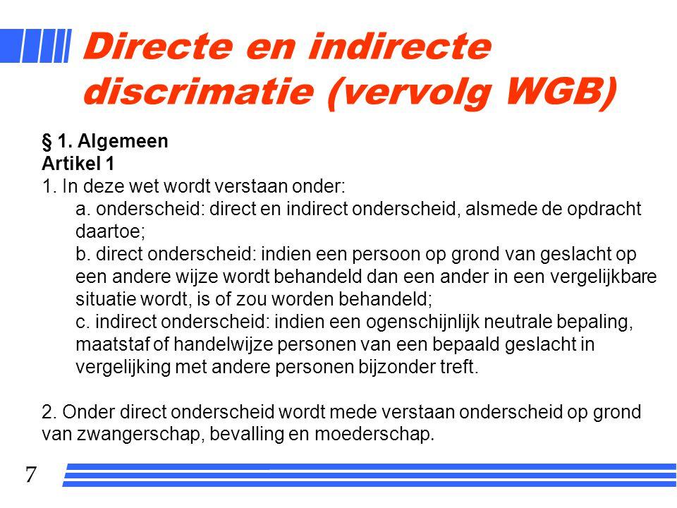 Directe en indirecte discrimatie (vervolg WGB)