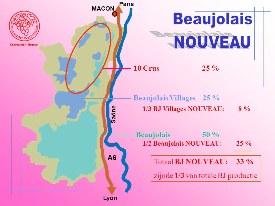 Beaujolais NOUVEAU 10 Crus 25 % Beaujolais Villages 25 %