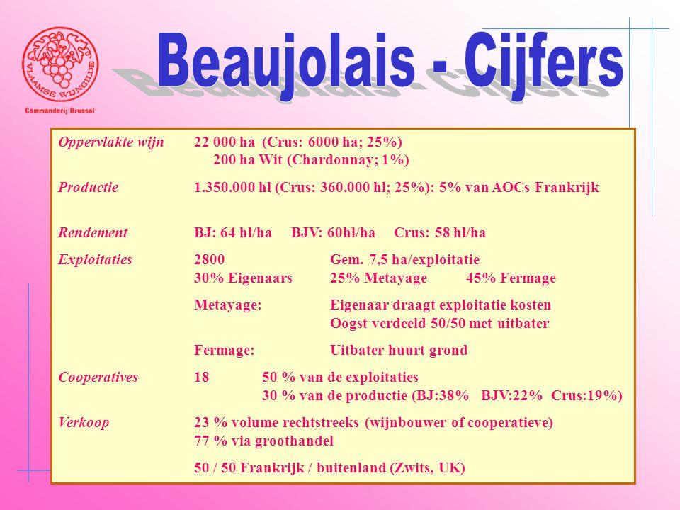 Beaujolais - Cijfers Oppervlakte wijn 22 000 ha (Crus: 6000 ha; 25%) 200 ha Wit (Chardonnay; 1%)