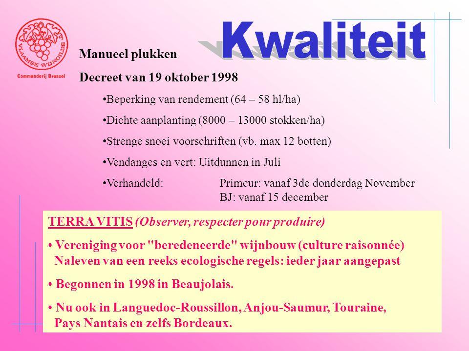 Kwaliteit Manueel plukken Decreet van 19 oktober 1998