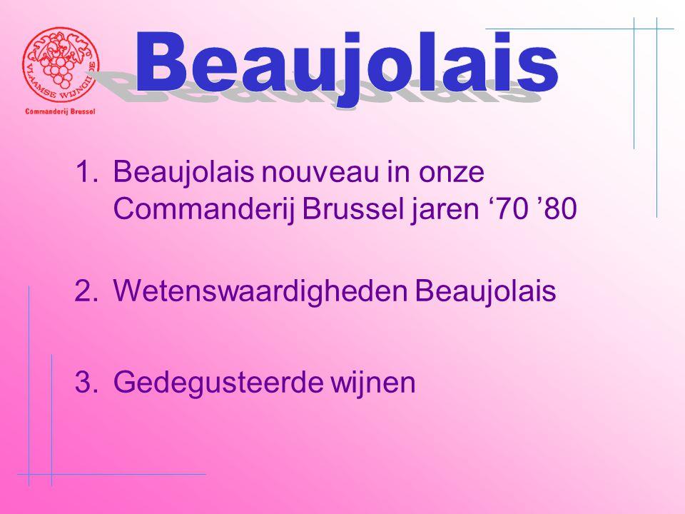 Beaujolais Beaujolais nouveau in onze Commanderij Brussel jaren '70 '80. Wetenswaardigheden Beaujolais.