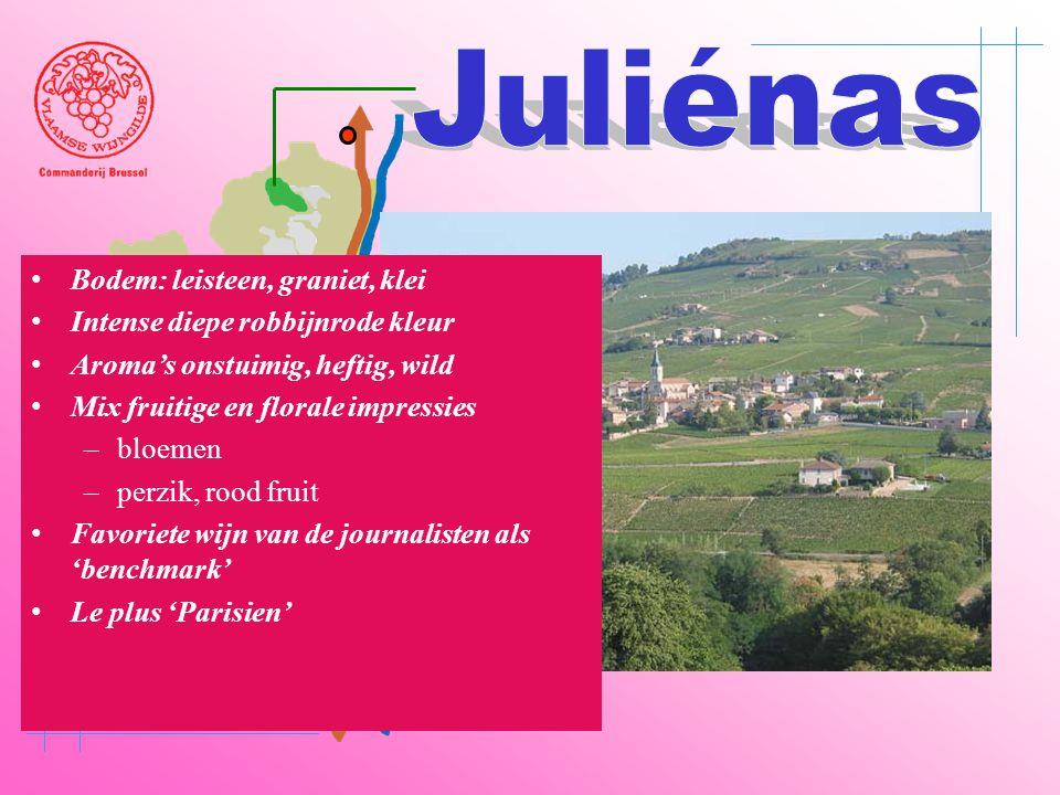 Juliénas Bodem: leisteen, graniet, klei