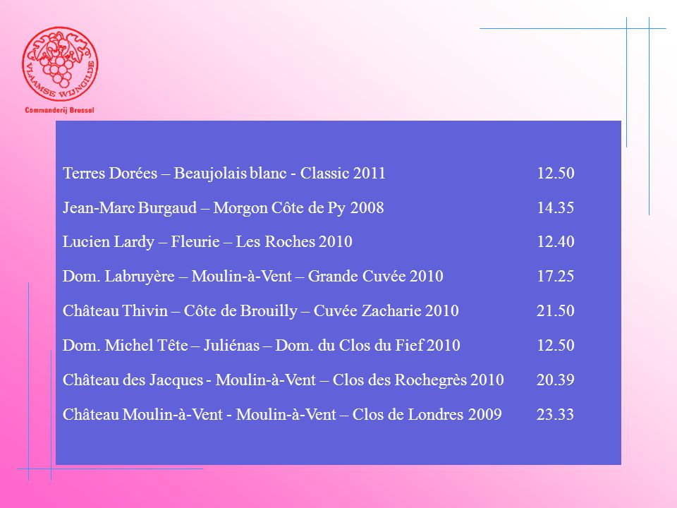 Terres Dorées – Beaujolais blanc - Classic 2011 12.50