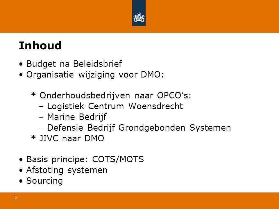 Inhoud Budget na Beleidsbrief Organisatie wijziging voor DMO:
