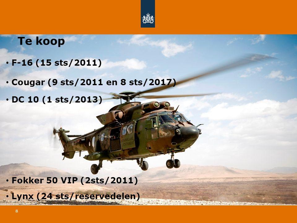 Te koop F-16 (15 sts/2011) Cougar (9 sts/2011 en 8 sts/2017)