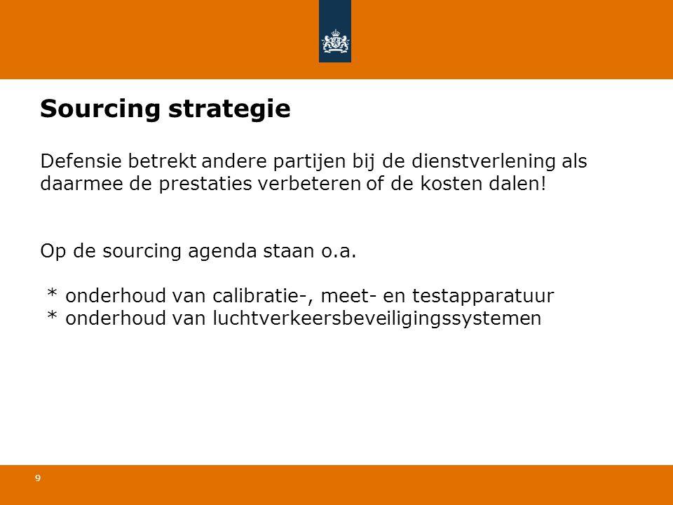 Sourcing strategie Defensie betrekt andere partijen bij de dienstverlening als daarmee de prestaties verbeteren of de kosten dalen.