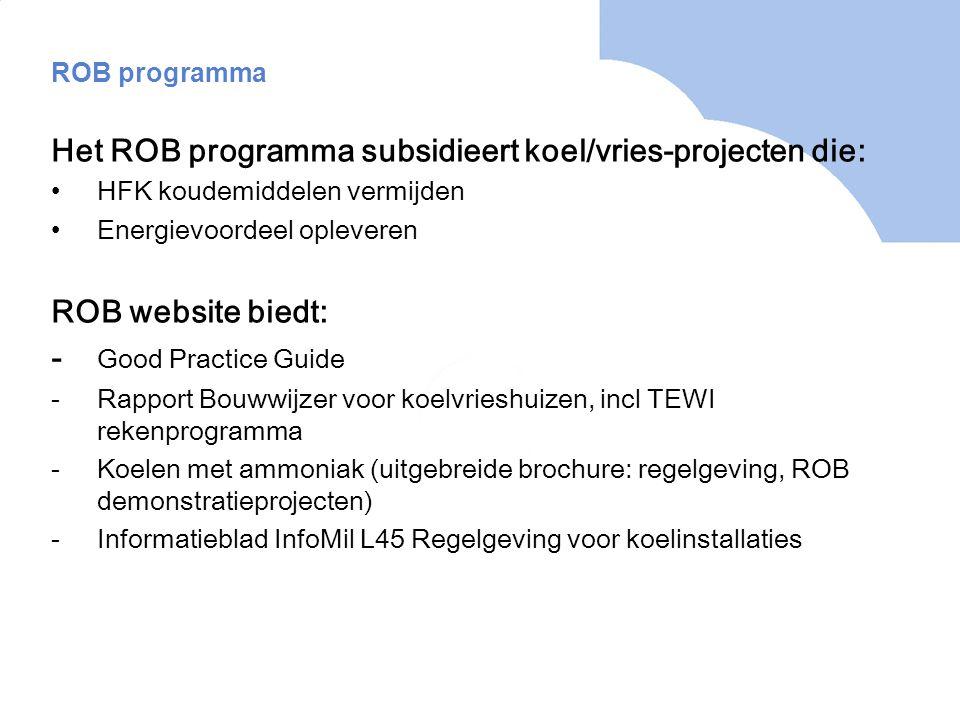Het ROB programma subsidieert koel/vries-projecten die: