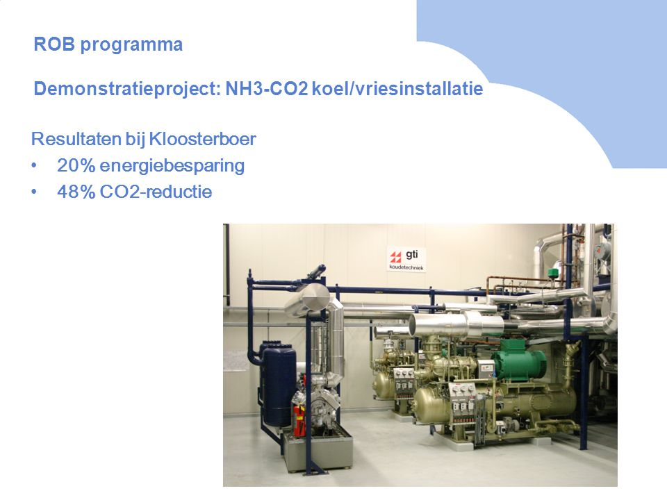 ROB programma Demonstratieproject: NH3-CO2 koel/vriesinstallatie