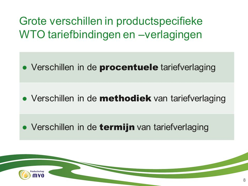 Grote verschillen in productspecifieke WTO tariefbindingen en –verlagingen