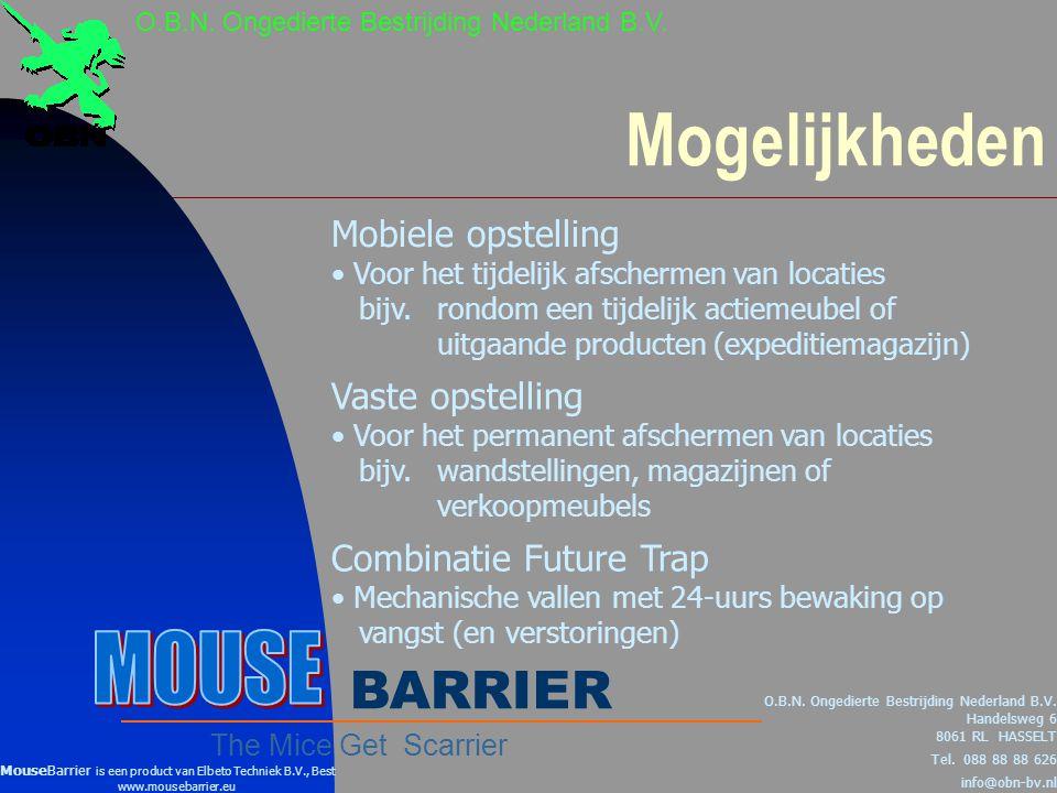 Mogelijkheden MOUSE BARRIER Mobiele opstelling Vaste opstelling