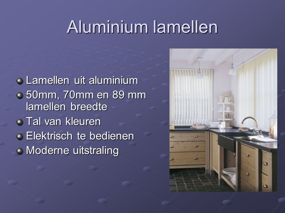 Aluminium lamellen Lamellen uit aluminium