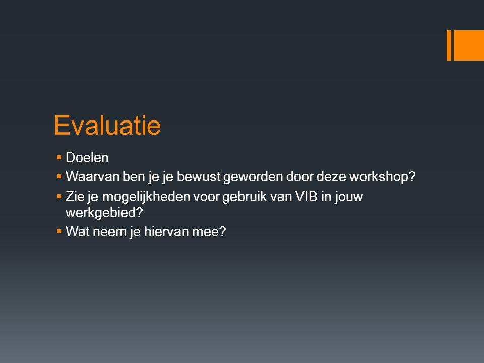 Evaluatie Doelen Waarvan ben je je bewust geworden door deze workshop