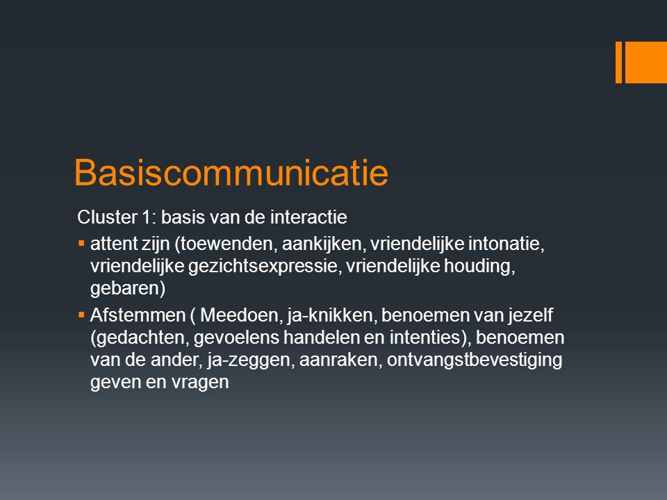 Basiscommunicatie Cluster 1: basis van de interactie