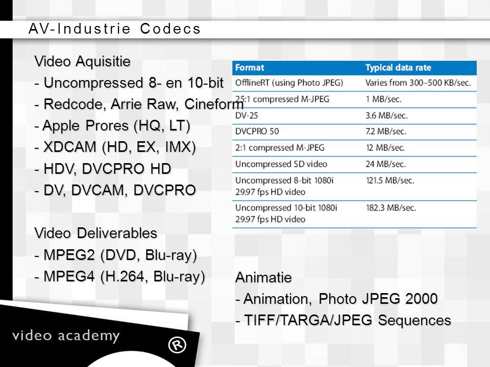 AV-Industrie Codecs Video Aquisitie. - Uncompressed 8- en 10-bit. - Redcode, Arrie Raw, Cineform.