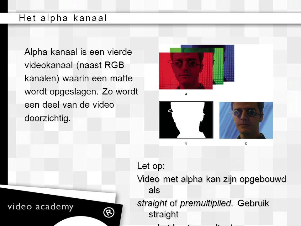 Het alpha kanaal Alpha kanaal is een vierde. videokanaal (naast RGB. kanalen) waarin een matte. wordt opgeslagen. Zo wordt.