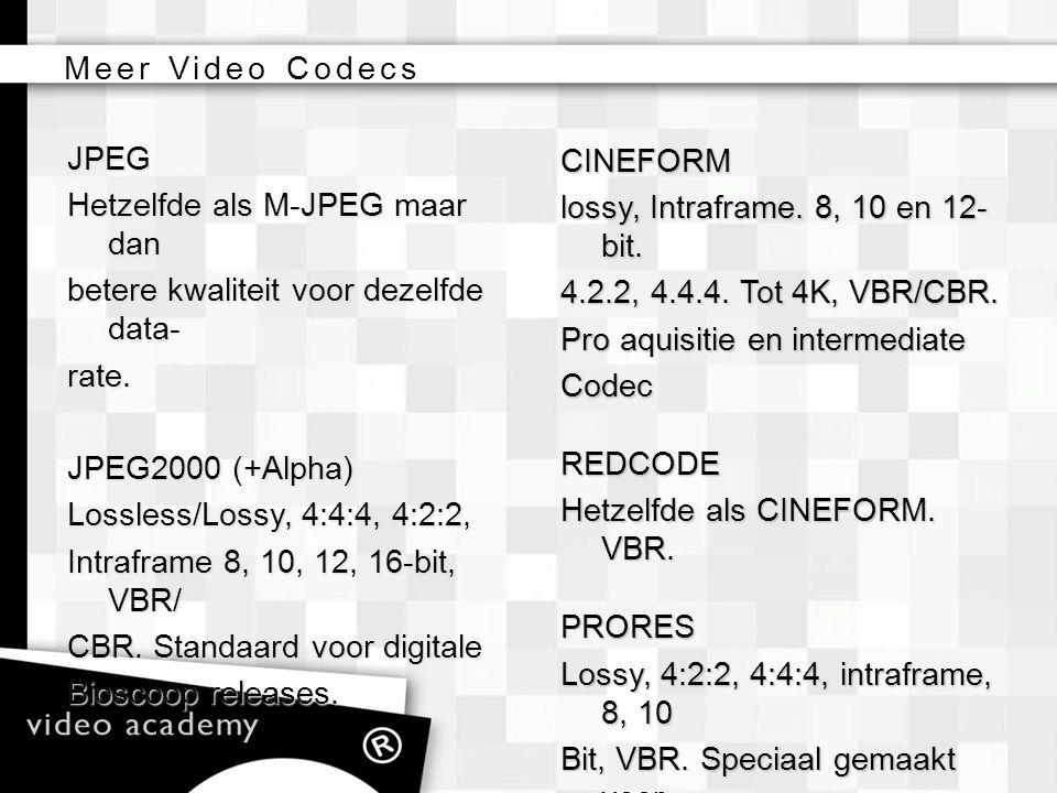 Meer Video Codecs CINEFORM. lossy, Intraframe. 8, 10 en 12-bit. 4.2.2, 4.4.4. Tot 4K, VBR/CBR. Pro aquisitie en intermediate.