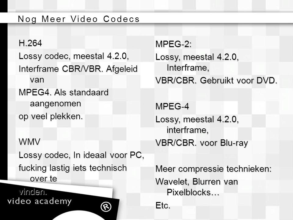Nog Meer Video Codecs H.264. Lossy codec, meestal 4.2.0, Interframe CBR/VBR. Afgeleid van. MPEG4. Als standaard aangenomen.
