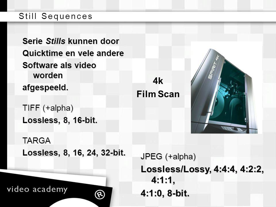 Lossless/Lossy, 4:4:4, 4:2:2, 4:1:1, 4:1:0, 8-bit.