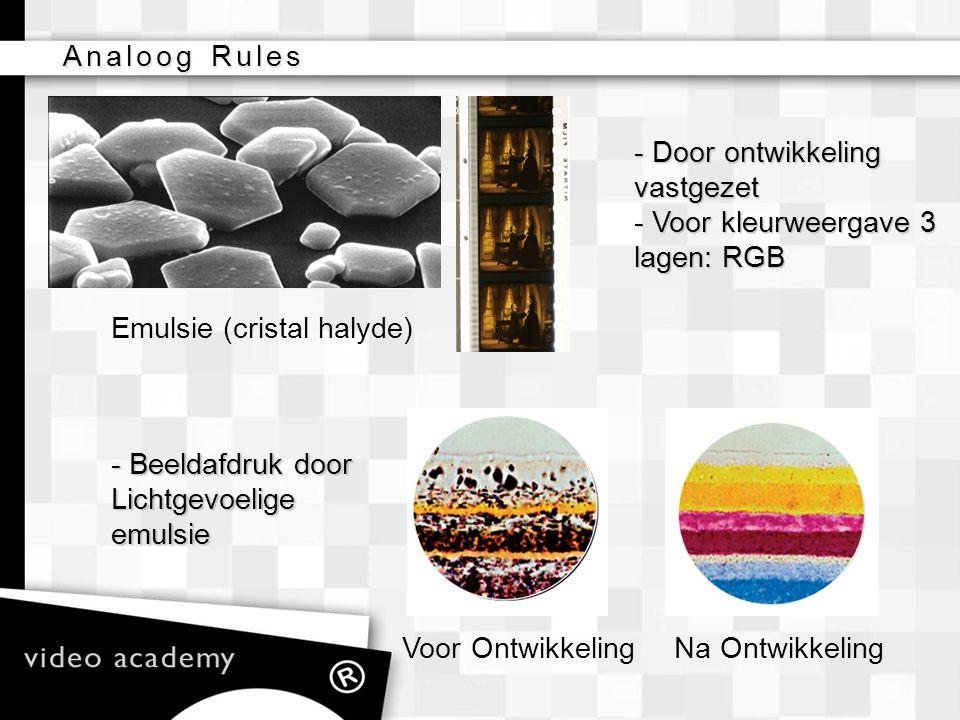 Analoog Rules - Door ontwikkeling. vastgezet. - Voor kleurweergave 3. lagen: RGB. Emulsie (cristal halyde)
