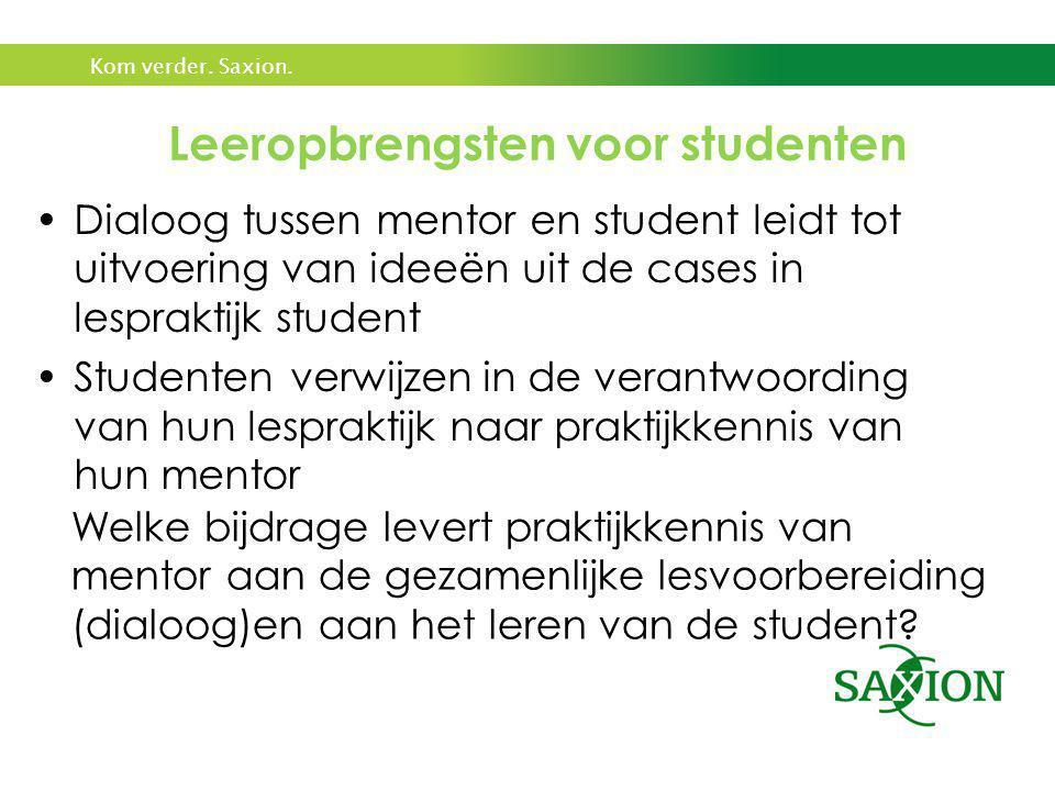 Leeropbrengsten voor studenten