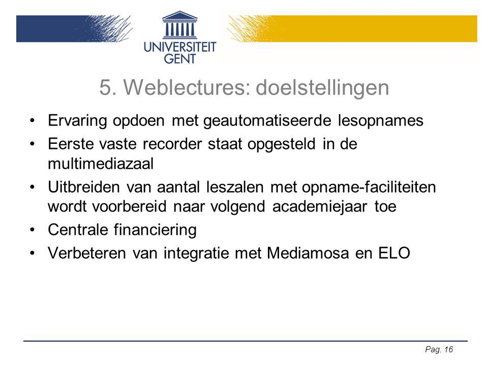 5. Weblectures: doelstellingen