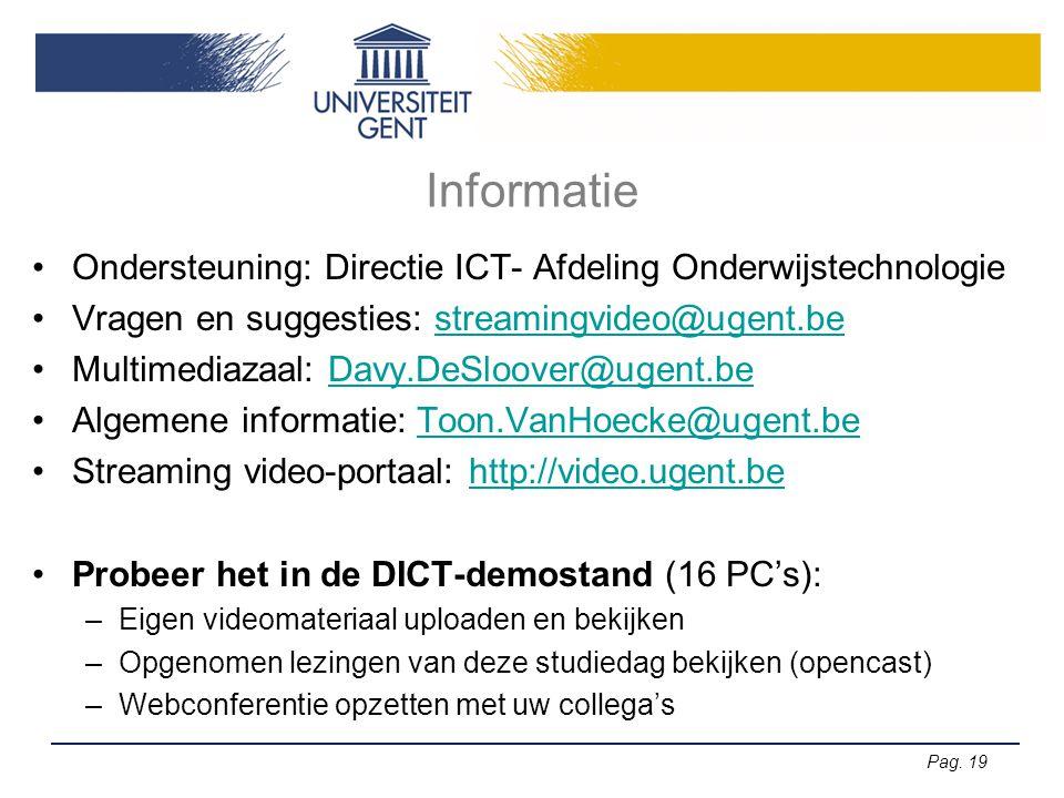 Informatie Ondersteuning: Directie ICT- Afdeling Onderwijstechnologie