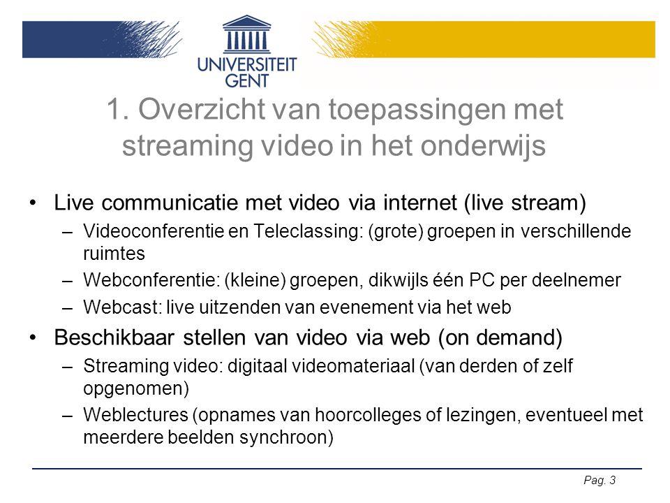 1. Overzicht van toepassingen met streaming video in het onderwijs