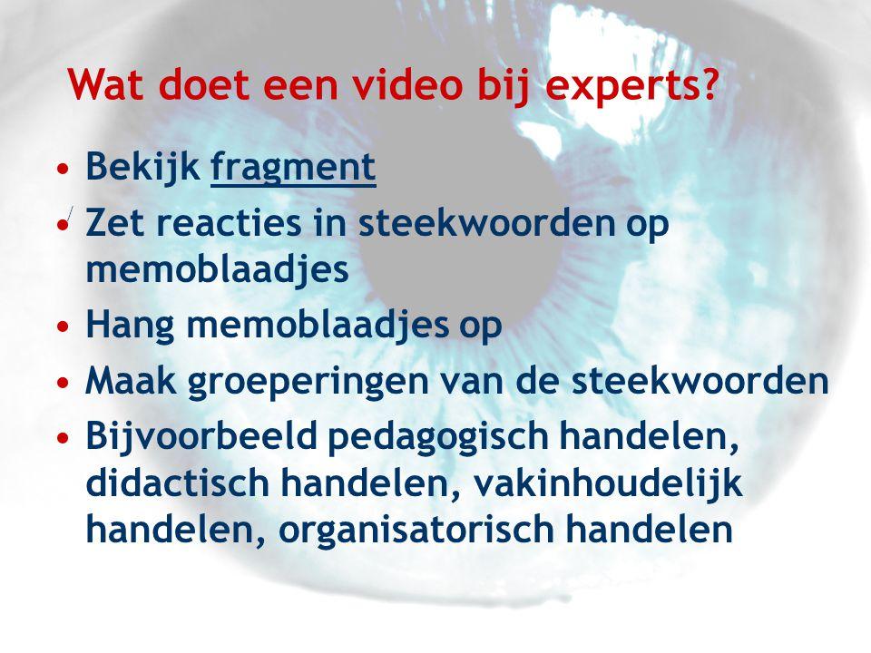 Wat doet een video bij experts
