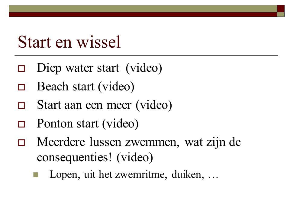 Start en wissel Diep water start (video) Beach start (video)