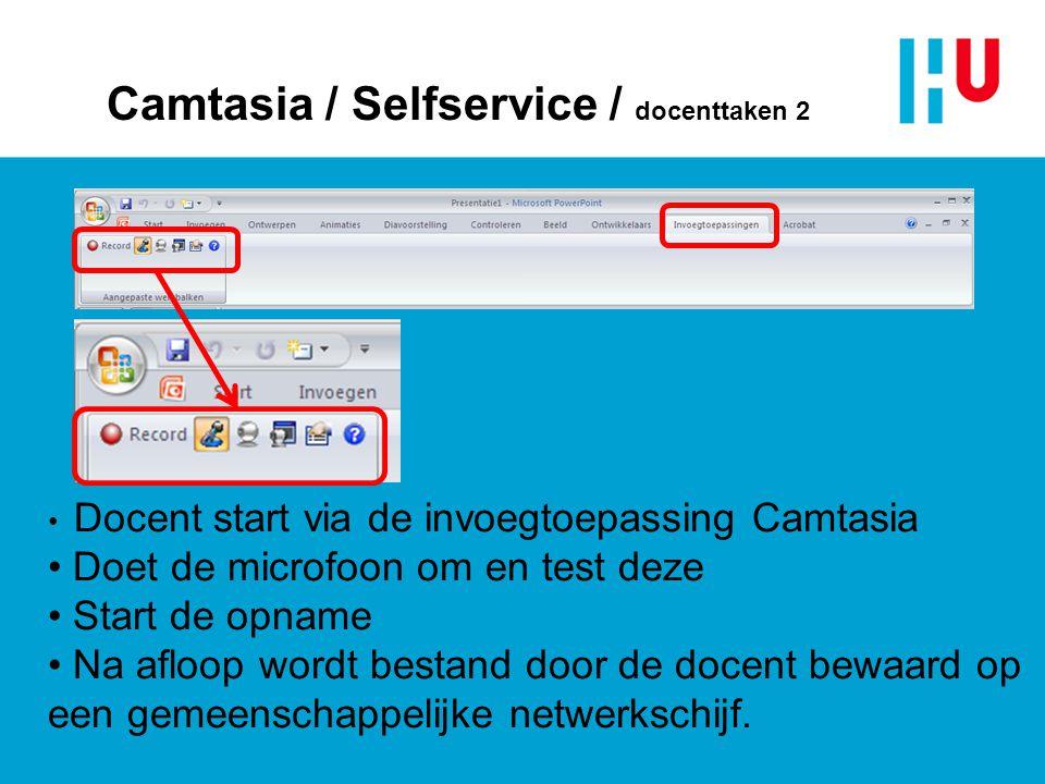 Camtasia / Selfservice / docenttaken 2