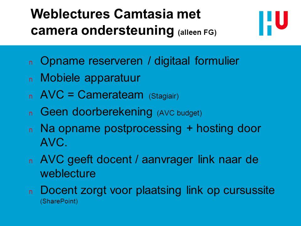 Weblectures Camtasia met camera ondersteuning (alleen FG)