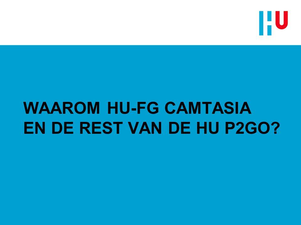 Waarom HU-FG Camtasia en de rest van de HU P2Go